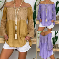 Womens Off Shoulder Gypsy Bardot Tops Autumn Lace Long Sleeve Blouse T Shirts