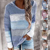 Damen Pullover Sweatshirt Langarm Hoodie Strickpullover Winter Warme Jumper Tops