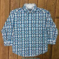 Panhandle Slim Boy's Blue Plaid Long Sleeve Button Up Western Shirt C0D1094 SALE