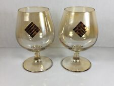 Vintage Set Of 2 Large Iridescent Gold Tone Crystal Brandy Snifters