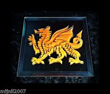 5-inch Red Welsh Dragon Hand Etched Square Mirror