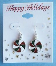 Holiday Christmas Ball Earrings Red Green White with Rhinestone Accent