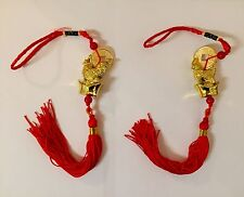 2 Pcs Rooster Amulet Tassel Charm Hanger Good Luck Coins Door Car Feng Shui