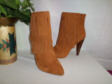 NWOB STEVE MADEN MYRAKLE TAN SUEDE FRINGE ANKLE BOOTS WITH HIGH HEEL SIZE 8.5M