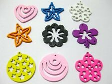100 Assorted Bright Color Wood Cut-Out Charms Wooden Pendants for Earring Craft
