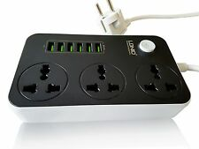 Travel Multi Extension with 6 USB Charger Outlets Flex has 2 pin Euro Type Plug.