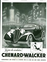 Publicité ancienne automobile Chenard-Walcker 1936 issue de magazine