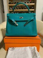 Hermès 32cm Turquoise Togo Leather Retourne Kelly Bag with Palladium Hardware