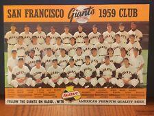 Vintage Original 1959 San Francisco Giants Team Photo Willie Mays Falstaff Beer