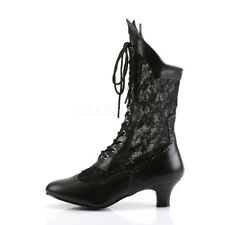 """DAME-115 2"""" KITTEN HEEL VINTAGE VICTORIAN GRANNY MESH UPPER LACE UP ANKLE BOOT"""