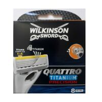 8 x Wilkinson Sword Quattro Titanium Precision Razor Blades for Men - 8 Refills