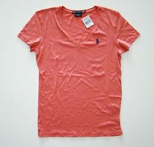 Nwt Ralph Lauren Short Sleeved Pima Cotton Pink Pony V-Neck T-Shirt Shirt 2b493705e5e