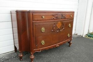 Early 1900s French Inlay Carved Bombay Commode Dresser 2092