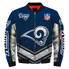 Men's Los Angeles Rams Jacket MA1 Flight Bomber Thicken Coat Football Outwear
