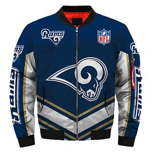 Men's Los Angeles Rams Jacket Flight Bomber Thicken Coat Football Outwear