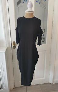 boohoo open shoulder dress UK 8 women's black pleated detail midi ladies party