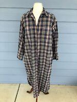 Cotton Flannel EDDIE BAUER Vintage Blue Tartan Plaid Mid Calf Dress Pockets PM