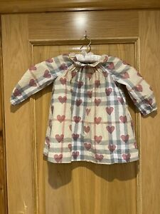 Burberry Baby Girl Dress Age 2 Yrs Button Up Back Check/heart Print