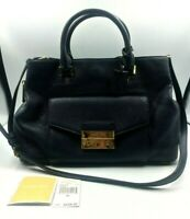 Michael Michael Kors Purse Leather Haley Large Satchel Admiral Navy Gold New