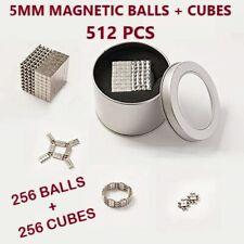 512 Pcs Magnetic Balls & Cubes 256 Balls+256 Cubes with Tin Box & Splitter Card