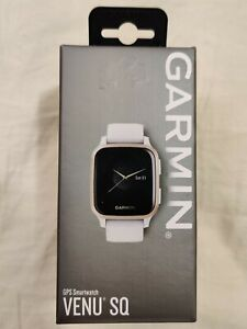 Garmin Venu SQ GPS Smartwatch Light Gold Aluminum Bezel, White Silicone Strap