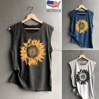 Women Casual Sleeveless Tops Sunflowe Print Shirt Casual Loose Tank Top