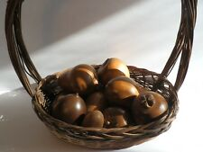Collectible Hand Carved Wooden Mixed Fruit Lot of 10 Pieces with Basket