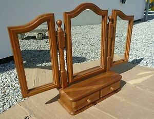 Pine 2 Drawer Freestanding Triple Dressing Table Mirror 3 Section Tilt Swivel