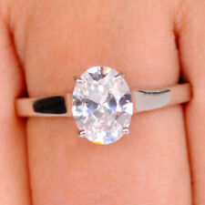 Oval Shape Solitaire Engagement Ring 2.65 Carat 14Kt White Gold Stunning