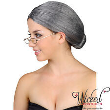 Granny Bun Wig Fancy Dress Costume Old Grey Woman Secretary Grandma Witch Party