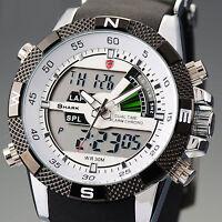SHARK LCD Digital Rubber Band Date Stopwatch Sport Quartz Wrist Watch for GBH