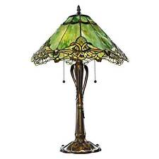 """Table Lamp 2 Light Tiffany Vintage Style Stained Glass Lacework Green 17.5""""D"""