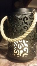 FARMHOUSE RUSTIC METAL CANDLE HOLDER LANTERN WITH ROPE HANDLE--VERY CHARMING