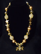 girls bubblegum bead chunky necklace,beautiful gold carriage on all gold necklac