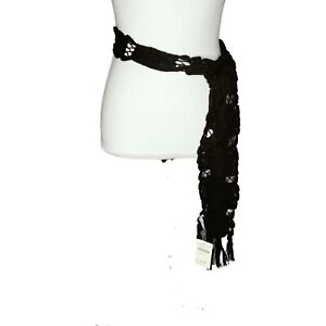 "Coldwater Creek Crochet Sash Black Cotton 79"" X 2.75"" Women's Accessory Belt NWT"