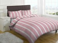 SINGLE DOUBLE KING DUVET SET RED WHITE STRIPE QUILT COVER WITH PILLOWCASES BED