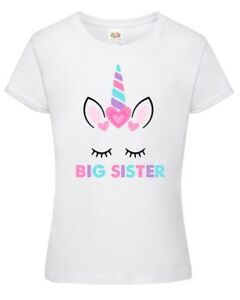 Big Sister Unicorn Girls T-Shirt - Printed Pregnancy Reveal Party Gift Top Pink