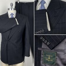 Holland & Sherry Made To Measure Double Breasted Striped Suit 40R Pants 35 x 30