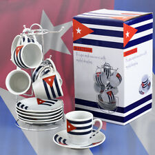 Juego de Tazas y Platillos con Exibidor para café Espresso 13 Piezas con Bandera