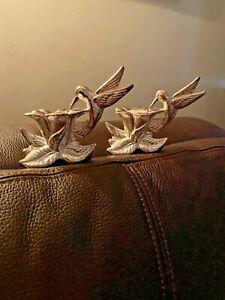 GORHAM SILVER-PLATED HUMMINGBIRD CANDLESTICKS