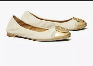 New! Tory Burch 'Minnie' Metallic Cap Toe Gold Cream Ballet Flats Womens 11