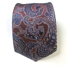 ETON Men's 100% Silk Necktie Paisley Textured Maroon Blue Long England NWOT
