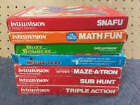 Lot Of 7 Intellivision Action Network Others Tron Mouse Trap Snafu Sub Hunt CIB
