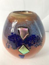 "Hand Blown Glass Paperweight Vase Vernon Brejcha Artist Signed ""Glitter Bowl"""
