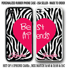 ZEBRA RED HEART BFF Best Friends Rubber Silicone Cases For iPhone 6S 6 4S 5S 5C