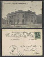 1908 GOVERNMENT BUILDING ZANESVILLE OHIO POSTCARD + TRIADELPHIA OHIO POSTMARK