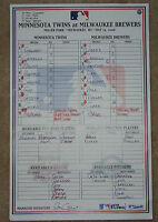 Francisco Liriano Pittsburgh Pirates First Career Hit/RBI Game Used Lineup Card
