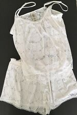 In Bloom by Jonquil White Lace Eyelet Pajama Shorts & Cami Top Set New $54 Large