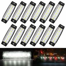 10X White 12V 6 LED Side Marker Clearance Indicators Lights Lamp Truck Trailer