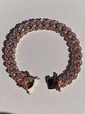 "Men's Solid 925 Silver 14k Rose Gold Iced Miami Cuban Link Bracelet Heavy 75g 8"""